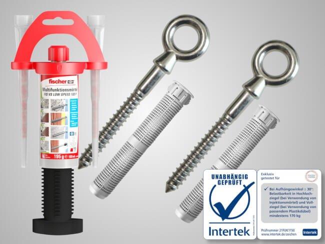 Hamacama® Screws mit Injektionsmörtel und Siebhülse, speziell für Lochstein