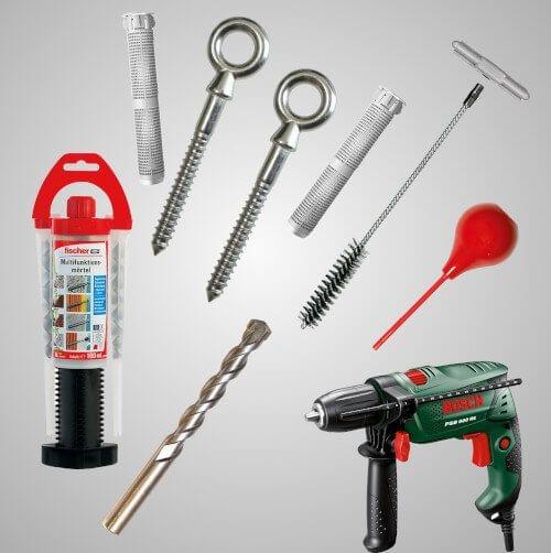 Notwendiges Werkzeug für Hamacama Screws mit Injektionsmörtel